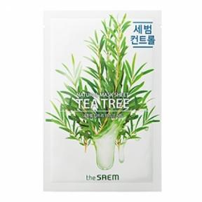 Маска тканевая антибактериальная с экстрактом чайного дерева Natural Tea Tree Sheet The Saem 20ml
