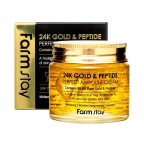 Крем Антивозрастной С Коллоидным Золотом И Пептидами FarmStay 24K Gold & Peptide Perfect Ampoule Cream 80ml