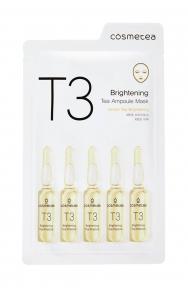 Освежающая тканевая маска с экстрактом зеленая чая и лимона Cosmetea T3 Brightening Tea Ampoule Mask 25ml